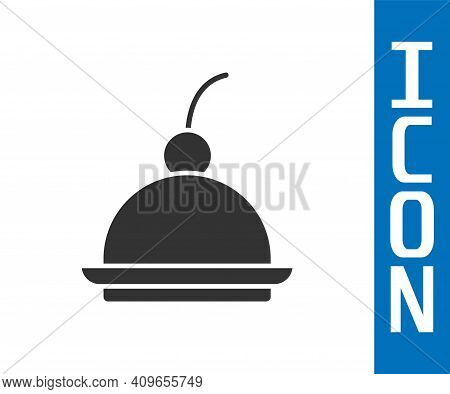 Grey Cherry Cheesecake Slice With Fruit Topping Icon Isolated On White Background. Vector