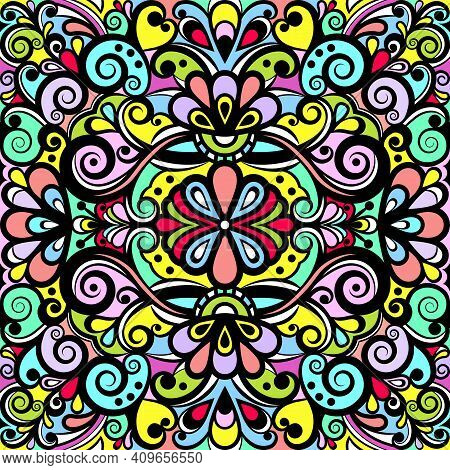 Floral Abstract Ornament, Bright Colorful Pattern, Multicolored Background, Ethnic Tracery, Hand Dra