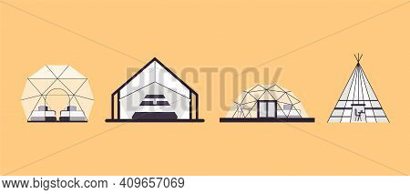 Collection Of Glamping Houses. Summer Country Houses And A Frame Cottages, Alpine Chalet, Camping, M