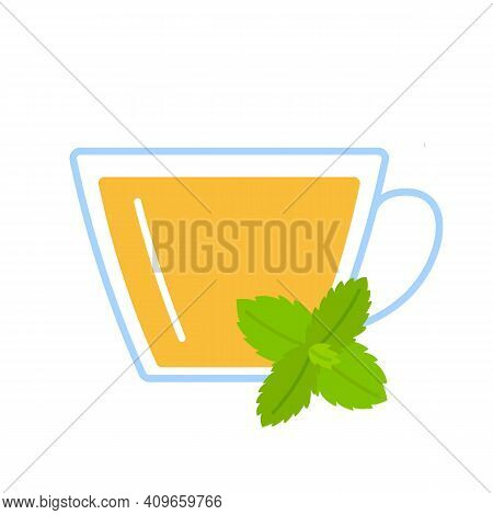 Mint Herbal Tea In Glass Cup. Teacup And Leaves Of Fresh Mint Relax Herb Drink. Vector Flat Illustra