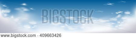 Blue Sky. Cloud Range. Vector Cloud Range, Realistic Illustration, Cloud Vector Range. Realistic Blu