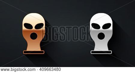 Gold And Silver Balaclava Icon Isolated On Black Background. A Piece Of Clothing For Winter Sports O