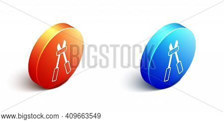 Isometric Bolt Cutter Icon Isolated On White Background. Scissors For Reinforcement Bars Tool. Orang