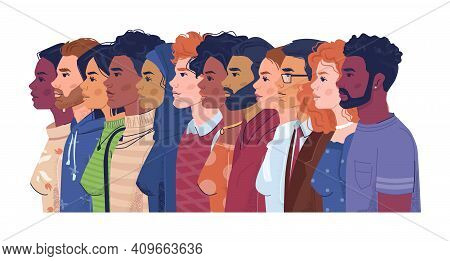 Diverse People, Multiracial, Multicultural Crowd Of Men And Women, Side View Portraits. Vector Multi