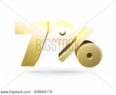 3d Number. Isolated 3d Illustration Of The Number 7 And Percent. Isolated Golden Number 7 And Percen