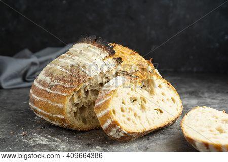 Sourdough Rustic Homemade Healthy Bread. Traditional Bread, Home Baking.