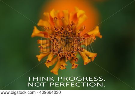 Motivational Quote - Think Progress, Not Perfection. With Spring And Summer Background Of Orange Mar