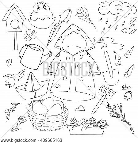 Spring Set Of Doodle Elements - Raincoat, Umbrella, Rubber Boots, Scarf, Paper Boat, Flowers, Snowdr