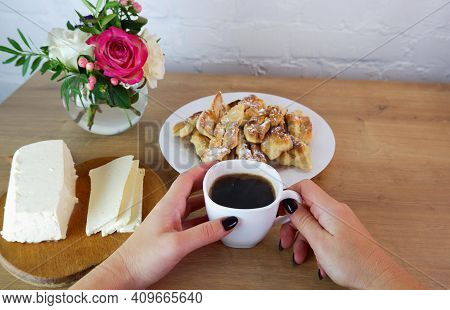 Cup Of Coffee In Female Hands, Close-up. Homemade Baked Goods During Quarantine. Homemade Dessert Pr