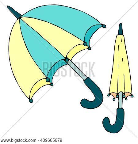 Spring Umbrellas In Yellow And Blue - Open Umbrella And Closed Umbrella, Vector Doodle Element, Chil