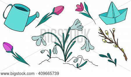 Spring Set Of Doodle Elements - Watering Can, Paper Boat, Flowers, Snowdrops, Children Vector Illusi