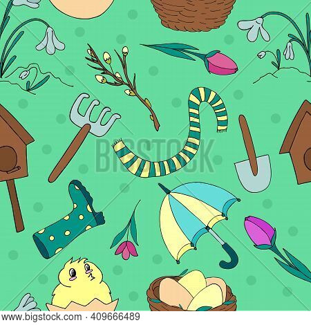 Spring Garden Tools - Watering Can, Rake, Shovel, Flowers, Tulips, Snowdrops, Vector Seamless Patter