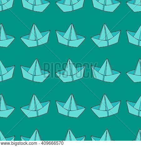 Paper Boats For Stream Or Puddle, Vector Seamless Pattern On Turquoise Background, Doodle Style Illu