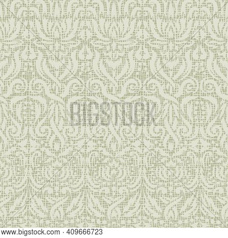 Abstract Background With Floral Ornaments. Seamless Pattern With Lace Effect, Rough Imitation Of Wea
