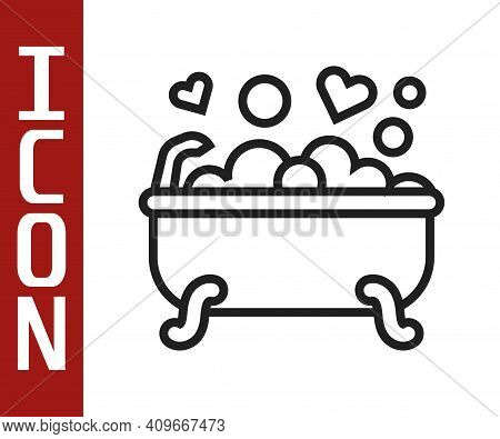 Black Line Romantic In Bathroom Icon Isolated On White Background. Concept Romantic Date. Romantic B