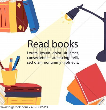 Enjoying Reading, Read Books Banner With Place For Text. Various Paper Books, Mug, Table Lamp With L