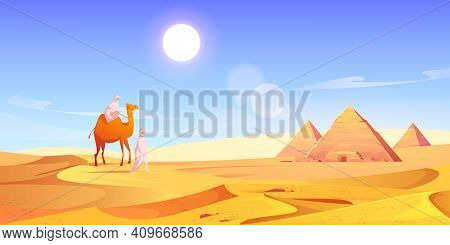 Two Men And Camel In Egyptian Desert With Pyramids. Vector Cartoon Illustration Of Landscape With Ar