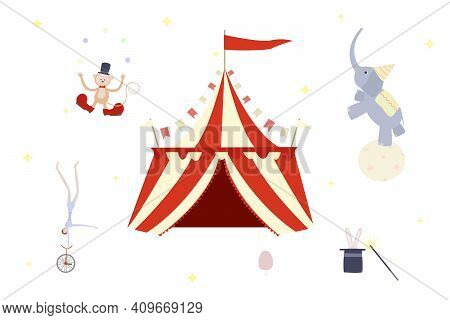 Circus Set. Rabbit In The Hat, Gumnast In Red Unicycle