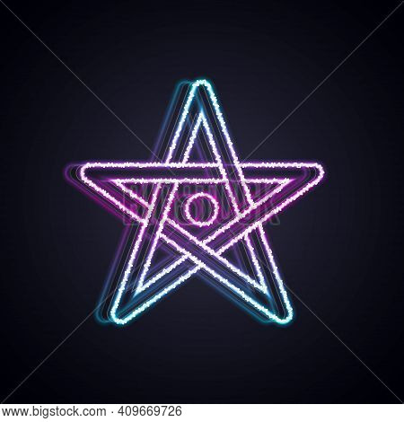 Glowing Neon Line Pentagram Icon Isolated On Black Background. Magic Occult Star Symbol. Vector