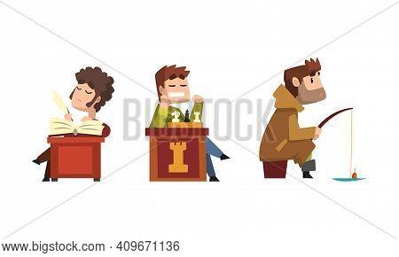Male Hobby Or Profession Set, Man Poet, Chess Player, Fisherman Cartoon Vector Illustration