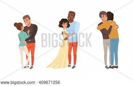 Happy Couples Hugging Set, Romantic Partners Embracing With Smiling Faces Cartoon Vector Illustratio