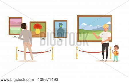 People Admiring Paintings At Exhibition, Visitors Viewing Exhibits At Classic Art Gallery Or Museum
