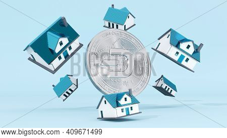 Digital Art Of Dash Logo Symbol. Cryptocurrency Coin Dash And House 3d Illustration. Crypto Backgrou