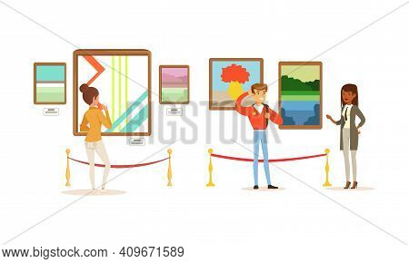 People Looking At Abstract Paintings At Exhibition, Visitors Viewing Exhibits At Modern Art Gallery