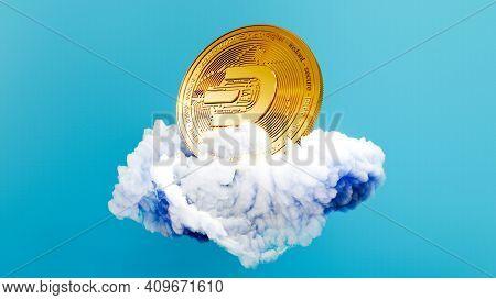 Digital Art Of Dash Logo Symbol. Cryptocurrency Coin Dash On The Cloud 3d Illustration. Crypto Backg