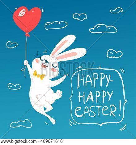 Bunny Flying On Air Balloon Greeting Card