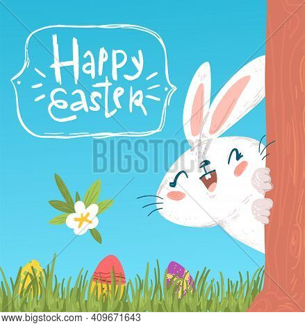 Cute Hiding Easter Bunny Greeting Card Design