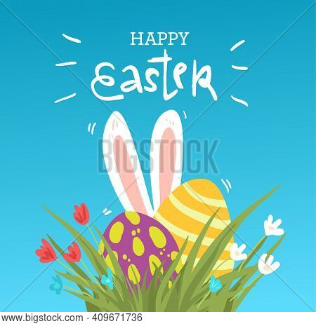 Happy Easter Cartoon Funny Greeting Card Design