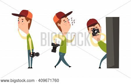 Paparazzi With Camera Set, Man Following Celebrity And Taking Photos Cartoon Vector Illustration On