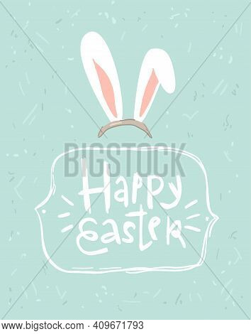 Simple Hand-drawn Greeting Easter Card With Ears