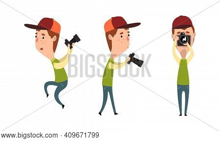 Paparazzi With Camera Set, Male Photographer Character With Camera In Various Poses Cartoon Vector I