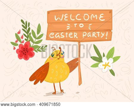 Welcome To Easter Party Greeting Bird Card
