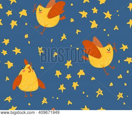 Cute Kids Seamless Pattern With Birds And Stars