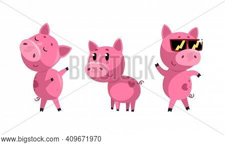 Set Of Funny Piglet In Action, Cute Humanized Farm Animal Character Cartoon Vector Illustration
