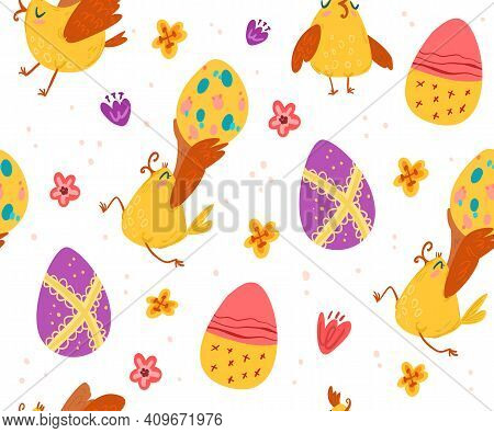 Cute Easter Birds With Eggs And Singing Pattern