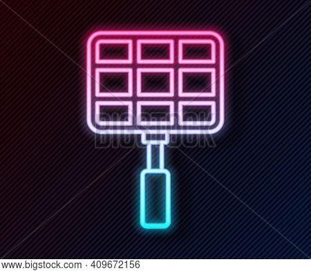 Glowing Neon Line Barbecue Steel Grid Icon Isolated On Black Background. Top View Of Bbq Grill. Wire