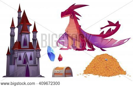 Medieval Castle, Dragon, Pile Of Gold Coins And Treasure Chest Isolated On White Background. Vector