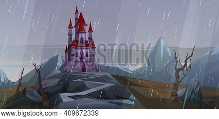Castle On Rock At Rainy Weather, Creepy Old Or Haunted Medieval Palace In Mountains, Building With P