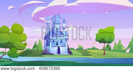 Magic Blue Castle On Green Meadow With Trees And River. Vector Cartoon Landscape With Royal Palace I