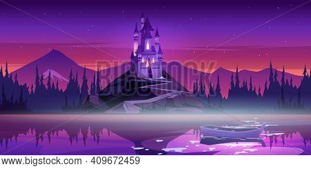 Magic Castle On Mountain Top Near River Pier With Boat On Water Surface At Sunset Dusk. Fairytale Pa