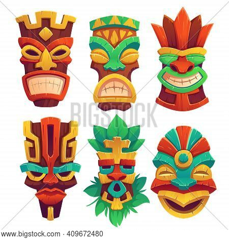 Tiki Masks, Tribal Wooden Totems, Hawaiian Or Polynesian Style Attributes, Scary Faces With Toothy M
