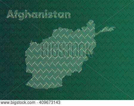 Afghanistan Map With Green And Gold Oriental Geometric Simple Pattern And Abstract Waves