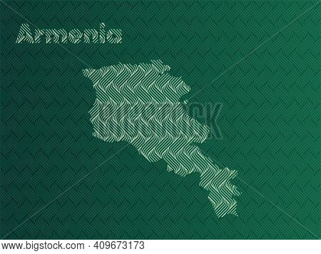Armenia Map With Green And Gold Oriental Geometric Simple Pattern And Abstract Waves