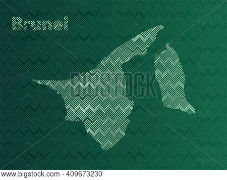 Brunei Map With Green And Gold Oriental Geometric Simple Pattern And Abstract Waves