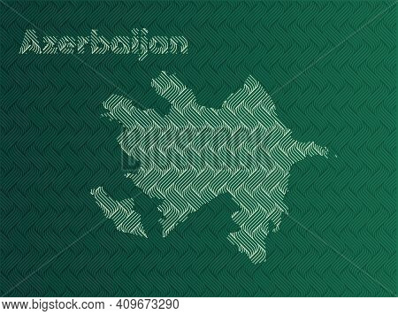 Azerbaijan Map With Green And Gold Oriental Geometric Simple Pattern And Abstract Waves