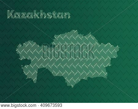 Kazakhstan Map With Green And Gold Oriental Geometric Simple Pattern And Abstract Waves